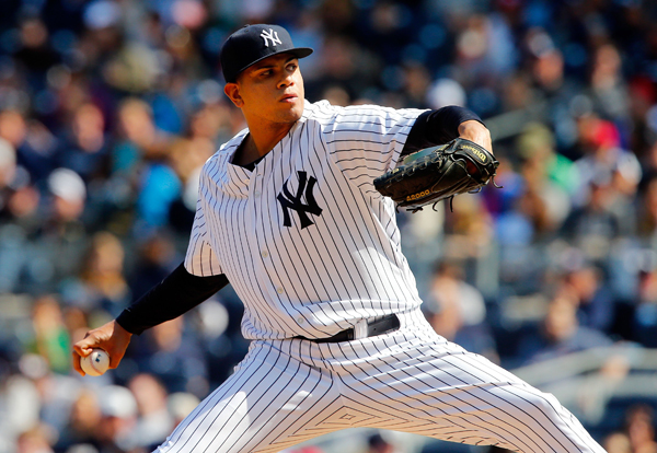 NEW YORK, NY - APRIL 26:  (NEW YORK DAILIES OUT)   Dellin Betances #68 of the New York Yankees in action against the Los Angeles Angels of Anaheim at Yankee Stadium on April 26, 2014 in the Bronx borough of New York City. The Yankees defeated the Angels 4-3.  (Photo by Jim McIsaac/Getty Images)